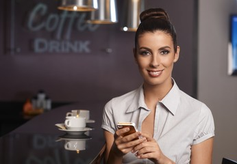 Businesswoman in bar