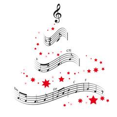 Weihnachtsbaum und Noten Vektor Illustration