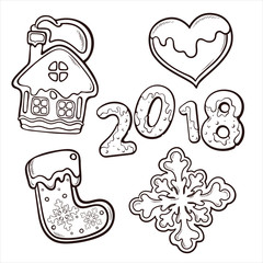 Cute and beautiful line art set of cookies for New Year and Christmas holidays, vector illustration isolated on white background
