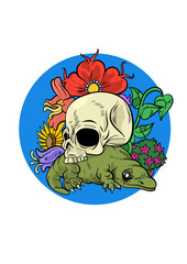 A skull on a lizard with flowers. Vector illustration