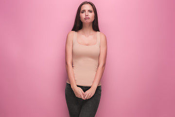 The young woman's portrait with sad emotions