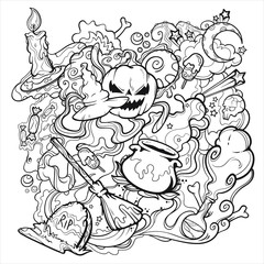 Halloween scary line art with pumpkin, witch hat, candle, skull, moon, potion, smoke, tombstone, broom, candy and stars, vector illustration isolated on white background, hand drawn in line art style
