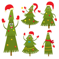Set of christmas tree characters in cartoon style, vector illustration.