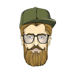 Nice-looking man in glasses with a beard and mustache wearing green cap on white background. Hipster stares at you. Head graphic image. Isolated vector illustration.