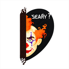 Evil and horror face of clown, text on the back, vector illustration isolated on white background