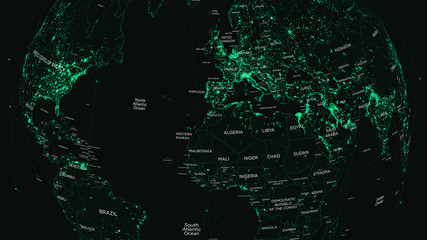 HUD world map with global technology and telecommunication network