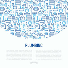 Plumbing concept with thin line icons of bathtub, shower, pipe, wrench, drop, leakage, meter, plunger. Modern vector illustration for banner, web page, print media.