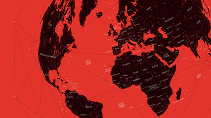 Red political map of the world, vector flat illustration