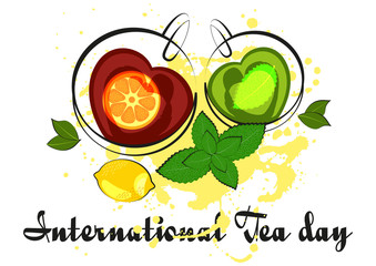 Two cups of black and green tea in shape of heart with mint and lemon on white background. International Tea Day in December 15. Vector illustration