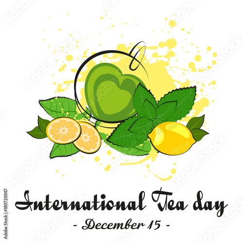 Cup of green tea in shape of heart with lemon mint and tea leaves cup of green tea in shape of heart with lemon mint and tea leaves on thecheapjerseys Image collections