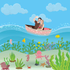 Couple of boyfriend and girlfriend riding small boat. Selfie people enjoying holiday and sharing moments. under water world life