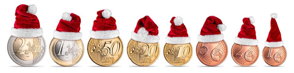 Weihnachtsgeld euro münzen mit weihnachtsmütze set sammlung isoliert weiß hintergrund / Euro coins christmas santa hat edition isolated