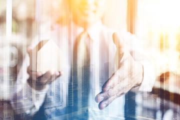 businessman introduce handshake successful business ideas concept