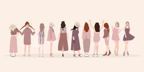 Beautiful young women in fashion clothing. Fashion women. Isolated fashion lady pose clothing show