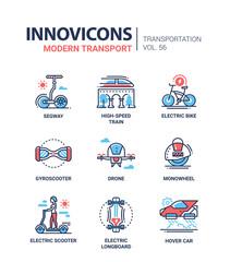 Modern transport - line design icons set