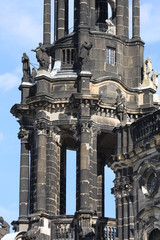 Details of Cathedral of the Holy Trinity (Katholische Hofkirche). in Dresden, Free State of Saxony. Germany.