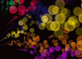 Colorful Abstract Bokeh Bubbles on Black Background