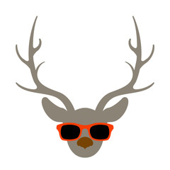 deer head in glasses vector illustration flat style front