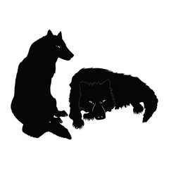 a pair of wolves - isolated on a white background -art creative vector