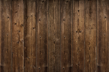 Brown wood texture. Abstract background, empty template. rustic weathered barn wood background with knots and nail holes. Close up of wall made of wooden planks.