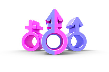 Set of gender symbols with stylized silhouettes, male, female and unisex or transgender. Idea and leadership concep. Isolated on white backgroud. 3d illustration.