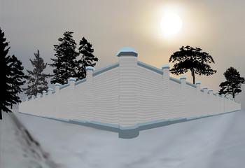brick wall in snow illustration