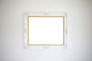 White blank picture frame on gray wallpaper background - used for display, input text or montage products.