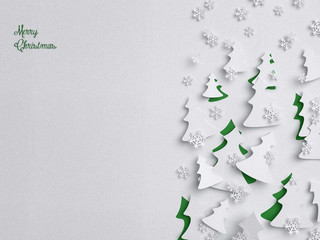 Merry Christmas tree - paper xmas background ( holiday , children )