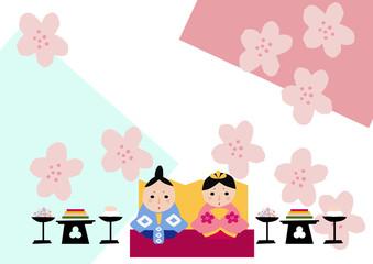 春のイメージ。ひな祭り。ひな人形。和柄。日本文化。