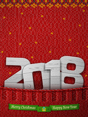New Year 2018 of wood in knitted pocket. Jumper fragment with wooden year number and christmas wishes. Best vector image for new years day, christmas, winter holiday, new years eve, silvester, etc