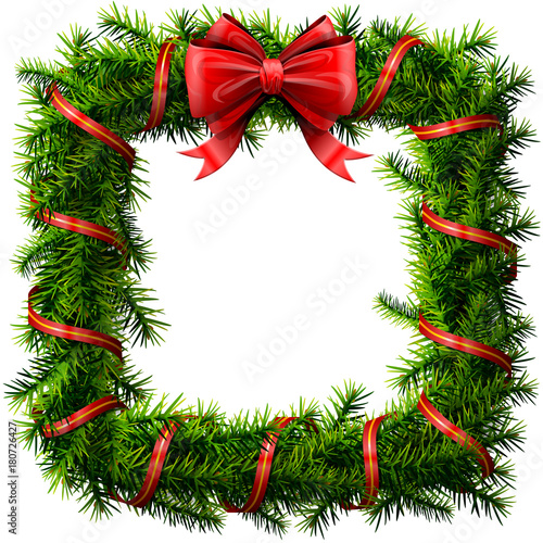 Christmas Square Wreath With Red Bow And Ribbon Decorated Rectangle