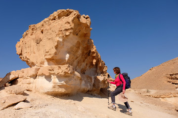 Middle aged female hiker climbing on yellow rock formation in Negev desert mountains.