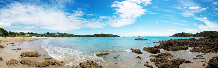 Panorama of a beach in new Zealand