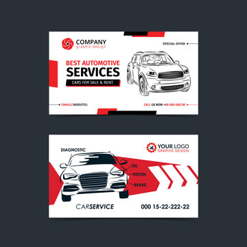 Automotive Service business cards layout templates. Create your own business cards. Mockup Vector illustration.
