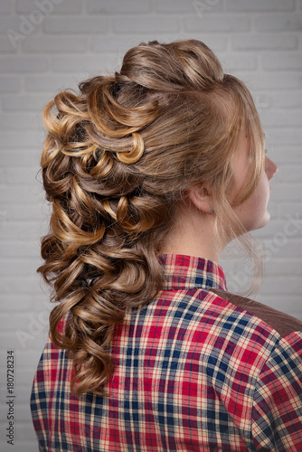 Women S Hairstyle Halo Braid On The Hair Of Brown Haired Rear View