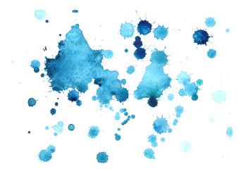 Abstract blue watercolor background,drop watercolor