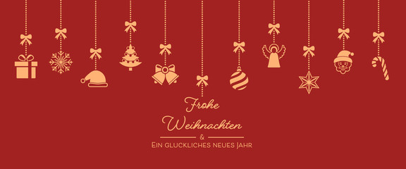 Weihnachten Icons von der Decke - Rot/Orange (voll)