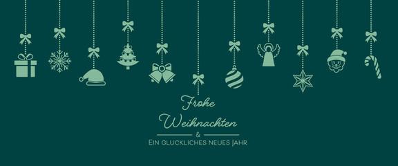 Weihnachten Icons von der Decke - Türkis (voll)