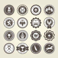 Emblems, blazons and heraldic badges - round labels