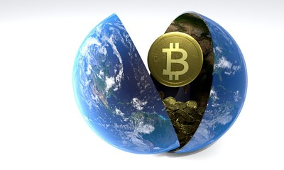 The accumulation of days Bitcoin World, 3d rendering