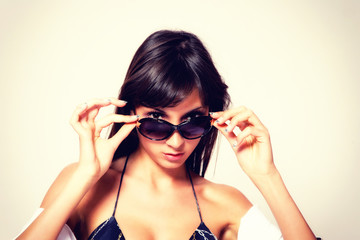 tanned woman portrait with sunglasses
