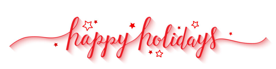 HAPPY HOLIDAYS hand lettering banner with stars