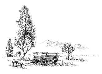 Countryside artistic drawing. Rural nature and cart sketch