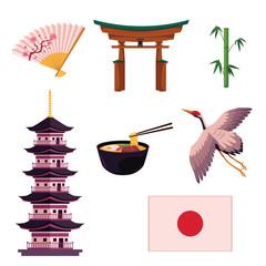 Set of Japanese culture symbols - pagoda, crane, bamboo, torii gates, flag, egg noodle and paper fan, vector illustration isolated on white background. Set of Japanese culture symbols, icons, elements