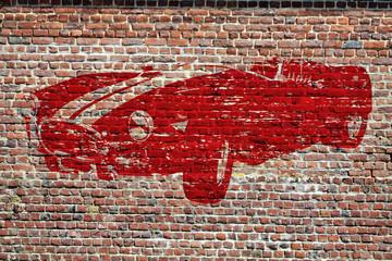 Graffiti, voiture de sport rétro rouge