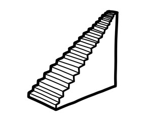 stairs / cartoon vector and illustration, black and white, hand drawn, sketch style, isolated on white background.