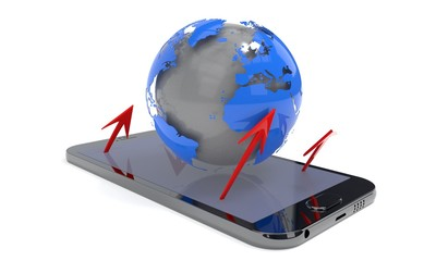 World and arrows on the phone, 3d rendering