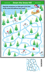 Winter maze game: Help the snowman on sleds get to the foot of the snow hill without any crash! Answer included.