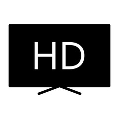 Hd television silhouette icon. TV, video symbol. Vector illustration