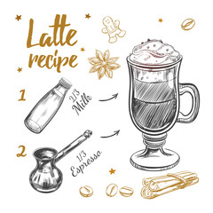 Coffee Latte Recipe. Cooking concept. Vector hand drawn illustration. Sketch style